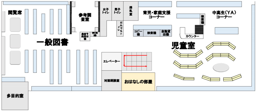 画像:下落合図書館2階フロア図